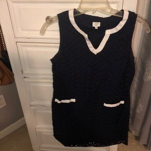 Navy lace dress with white accents